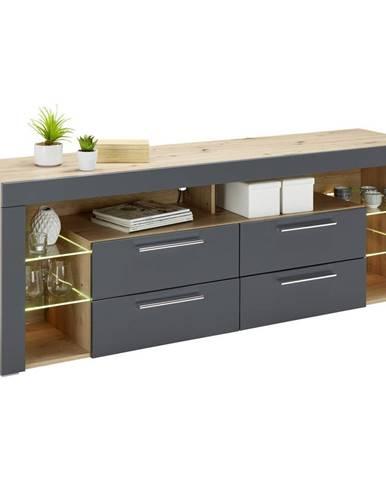 NÍZKÁ KOMODA, šedá, barvy dubu, 179/66/44 cm - šedá, barvy dubu