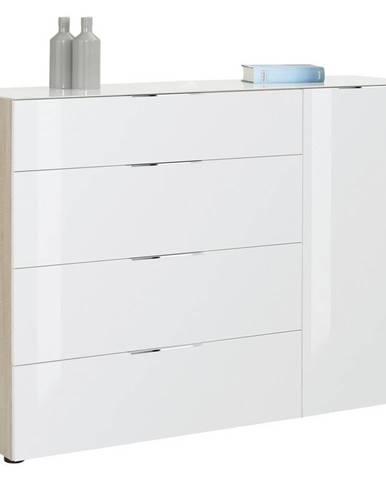 Novel KOMODA, bílá, barvy dubu, 136/100/40 cm - bílá, barvy dubu