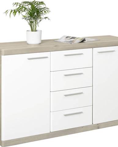 Xora PŘÍBORNÍK/KOMODA, bílá, barvy dubu, 135/92/43 cm - bílá, barvy dubu