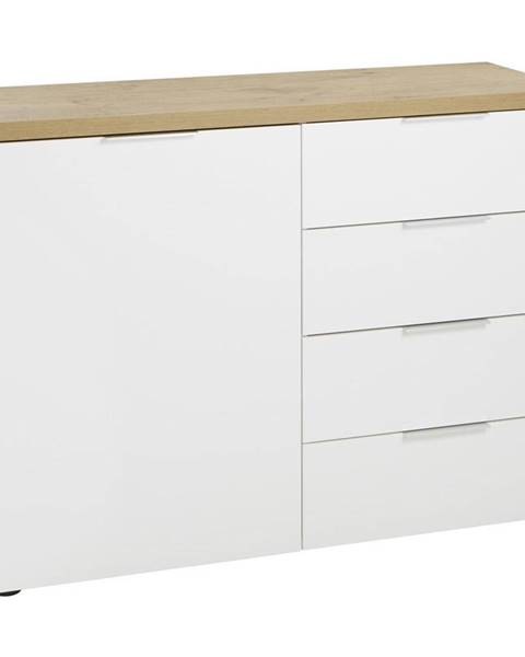 Xora Xora KOMODA, bílá, barvy dubu, 120/89/43 cm - bílá, barvy dubu