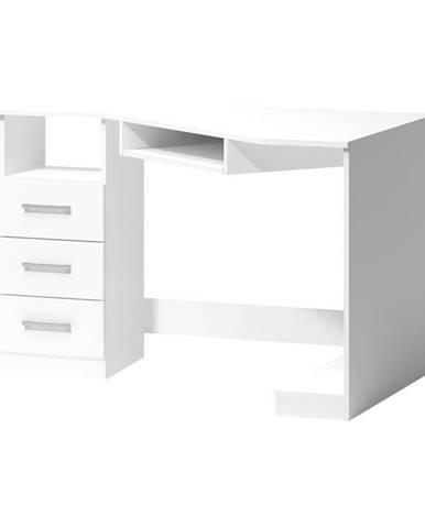 ROHOVÝ PSACÍ STŮL, bílá, 120/75/85 cm - bílá