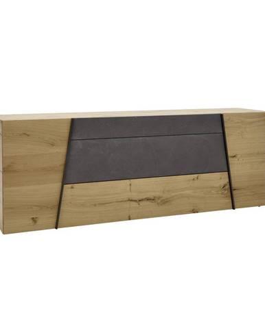 Voglauer KOMODA SIDEBOARD, divoký dub, šedá, barvy dubu, 224,2/82/51,6 cm - šedá, barvy dubu