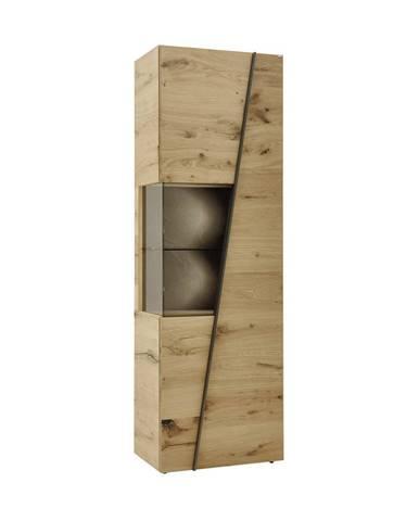 Voglauer VITRÍNA, šedá, barvy dubu, 64/202/42,3 cm - šedá, barvy dubu