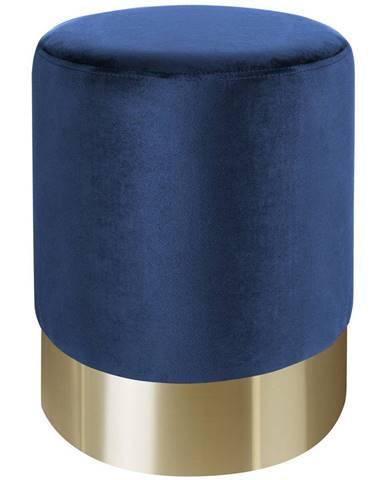 Xora TABURET, kov, textil, 35/35/42 cm - modrá, barvy zlata