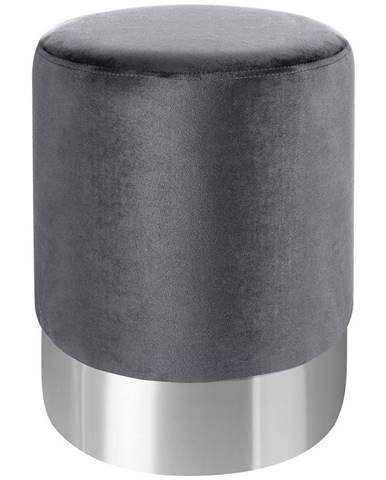 Xora TABURET, kov, textil, 35/35/42 cm - šedá, barvy nerez oceli