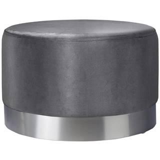 Xora TABURET, kov, textil, 55/55/35 cm - šedá, barvy nerez oceli
