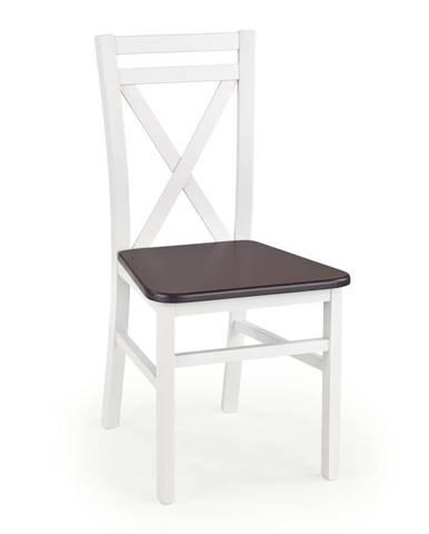 Halmar Jídelní židle Dariusz 2, bílá/tmavý ořech