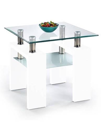 Halmar Konferenční stolek DIANA H, čtvercový, sklo/bílý