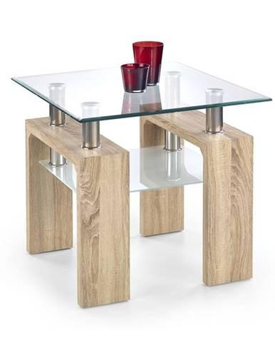 Halmar Konferenční stolek DIANA H, čtvercový, sklo/dub sonoma