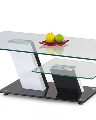 Halmar Konferenční stolek SAVANA, sklo, černý/bílý
