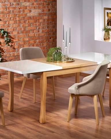 Halmar Jídelní stůl DONOVAN, bílý/přírodní dub