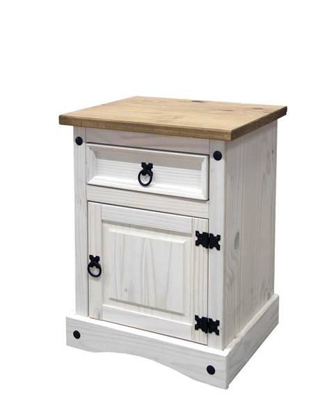 IDEA Nábytek Noční stolek CORONA bílý vosk 16345B