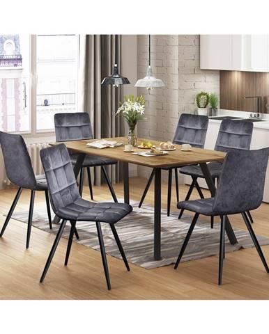 Jídelní stůl BERGEN dub + 6 židlí BERGEN šedý samet