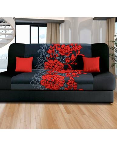 Pohovka VICTORIA červené květy