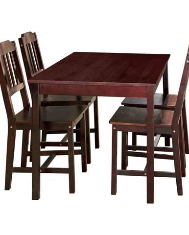 Stůl + 4 židle 8849 tmavohnědý lak