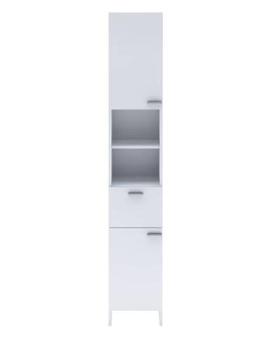 Vysoká skříňka 2 dveře + 1 zásuvka KORAL bílá
