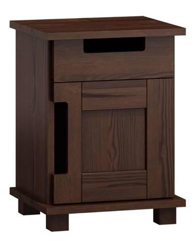 Noční stolek MODERN NR 5, masiv borovice, moření: ořech