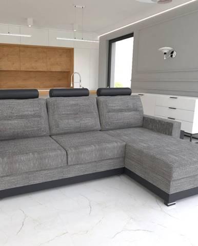 Rohová sedačka COVER, pravá, šedá/černá