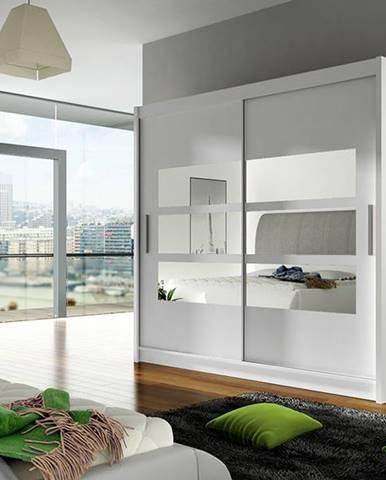Šatní skříň BEGA III, bílý mat/zrcadlo