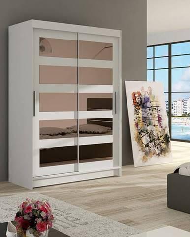 Šatní skříň MIAMII IV, bílý mat/zrcadlo