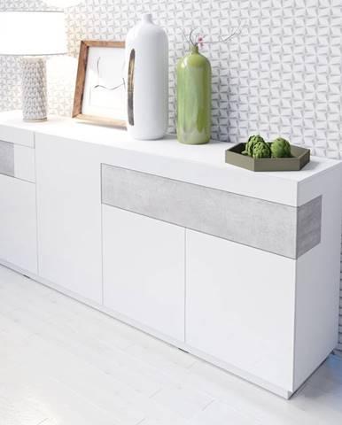 SILKE TYP 25 komoda 4D2S, bílá/bílý lesk/beton colorado