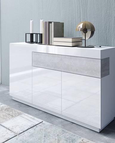 SILKE TYP 43 komoda 3D1S, bílá/bílý lesk/beton colorado