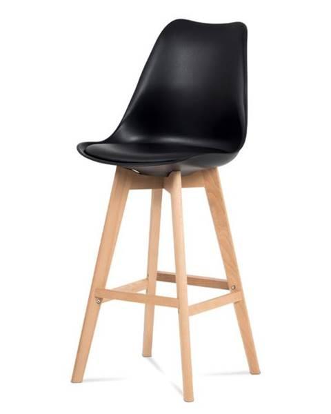 Smartshop Jídelní židle CTB-801 BK, černý plast+ekokůže/buk masiv
