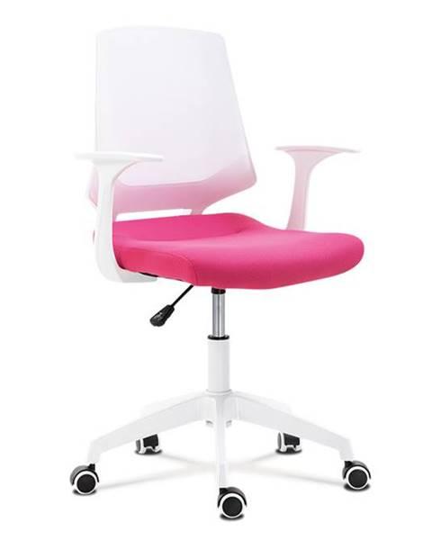 Smartshop Kancelářská židle, sedák růžová látka, bílý PP plast, výškově nastavitelná KA-R202 PINK