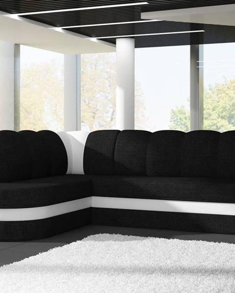 ELTAP Rohová sedačka BENANO B021, levá, černá látka/bílá ekokůže
