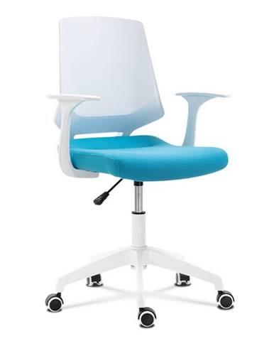 Kancelářská židle, sedák modrá látka, bílý PP plast, výškově nastavitelná KA-R202 BLUE