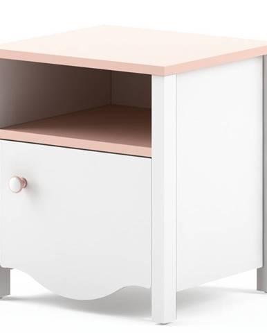 Noční stolek MIA MI-07, bílý/růžový