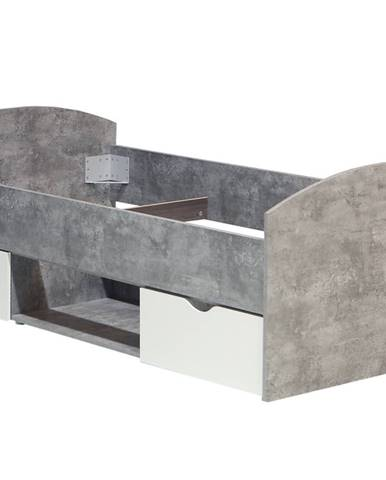 Postel 90x200 LUPO LPL09, beton/bílá