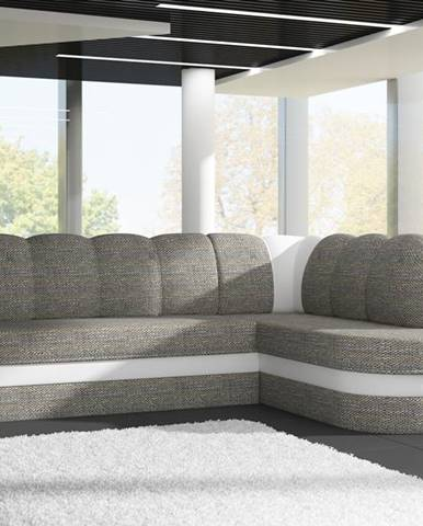 Rohová sedačka BENANO B011, pravá, šedá látka/bílá ekokůže