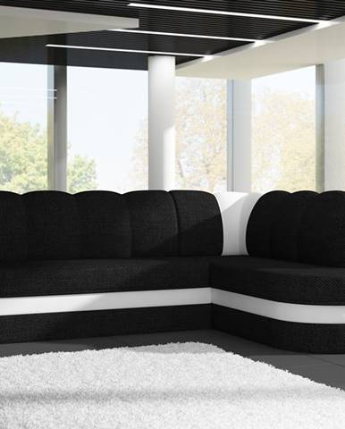 Rohová sedačka BENANO B014, pravá, černá látka/bílá ekokůže