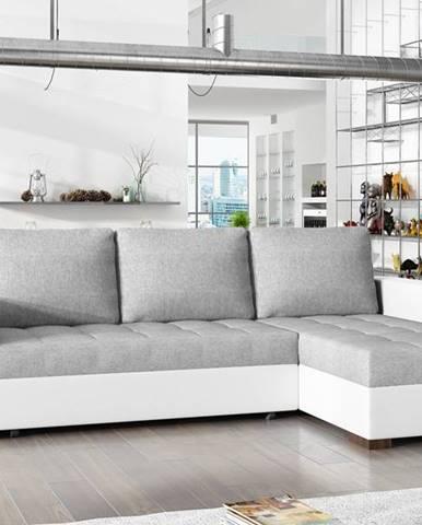 Rohová sedačka NEWARK Na27, světle šedá látka/bílá ekokůže
