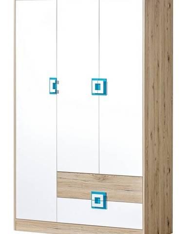 Šatní skříň 3-dveřová NIKO 3, dub jasný/bílá/tyrkys