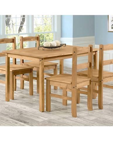 Stůl 100x80 + 4 židle CORONA 2 vosk
