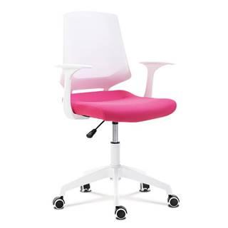 Kancelářská židle, sedák růžová látka, bílý PP plast, výškově nastavitelná KA-R202 PINK