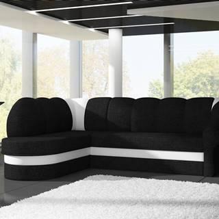 Rohová sedačka BENANO B021, levá, černá látka/bílá ekokůže