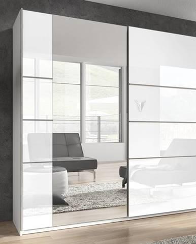 BETA šatní skříň se zrcadlem 221 TYP 58, bílá/bílý lesk