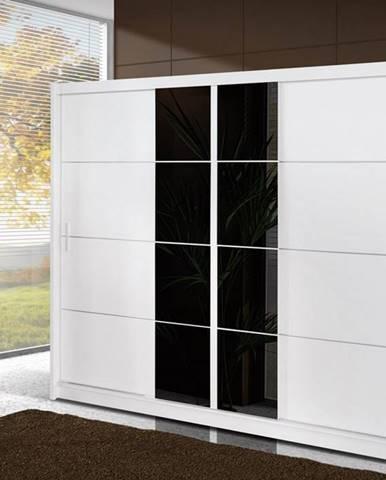 Šatní skříň s posuvnými dveřmi PORTO 250, bílá/černé sklo
