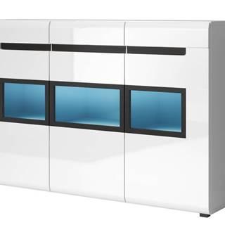 HEKTOR komoda TYP 43, bílá/bílý lesk/sklo