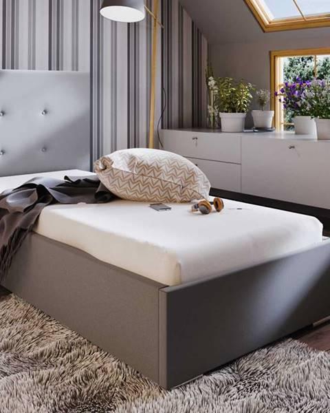Smartshop Čalouněná postel SOFIE 1 90x200 cm, béžová látka