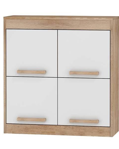 MORAVIA FLAT Závěsná skříňka 4D MAXIMUS 41, dub sonoma/bílý lesk