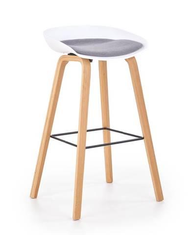 Barová židle H-86, bílá/šedá