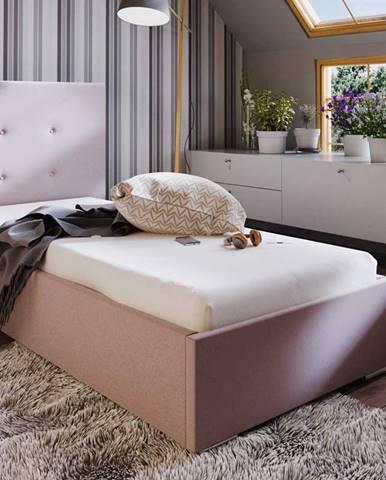 Čalouněná postel SOFIE 1 80X200 cm, růžová látka