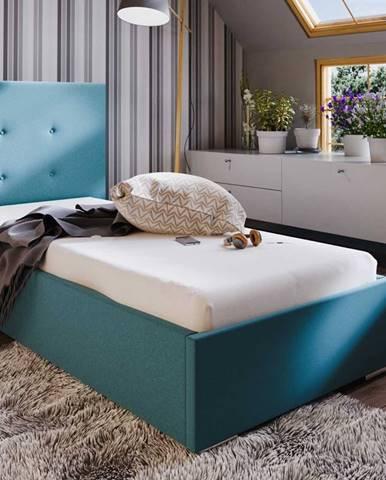 Čalouněná postel SOFIE 1 90x200 cm, modrá látka