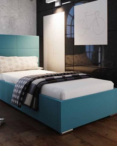 Čalouněná postel SOFIE 4 90x200 cm, modrá látka
