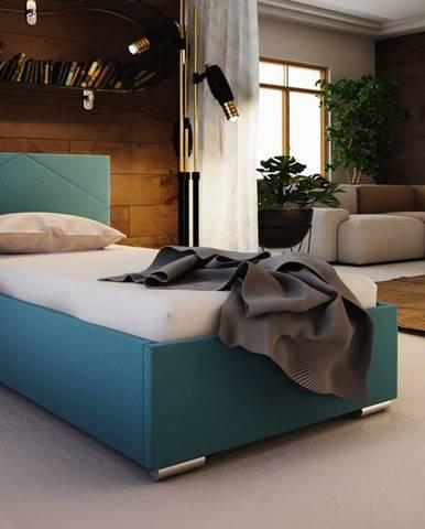 Čalouněná postel SOFIE 5 90x200 cm, modrá látka