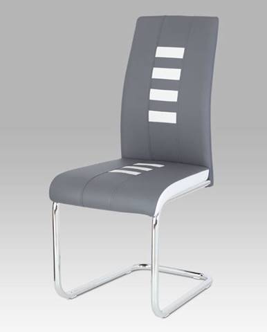 Jídelní židle koženka šedá + bílá / chrom DCL-961 GREY